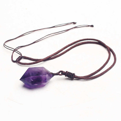 Natural Amethyst Pendant Point Sweater Necklace AL004