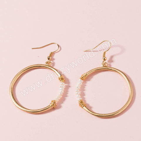 Gold Plated Round Pearl Dangle Earrings WX1662