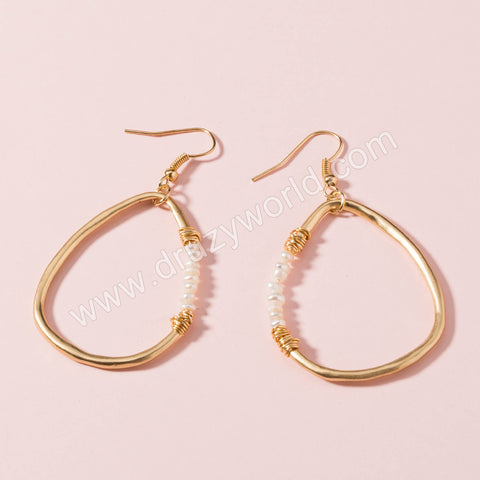 Gold Plated Drop Pearl Dangle Earrings WX1660