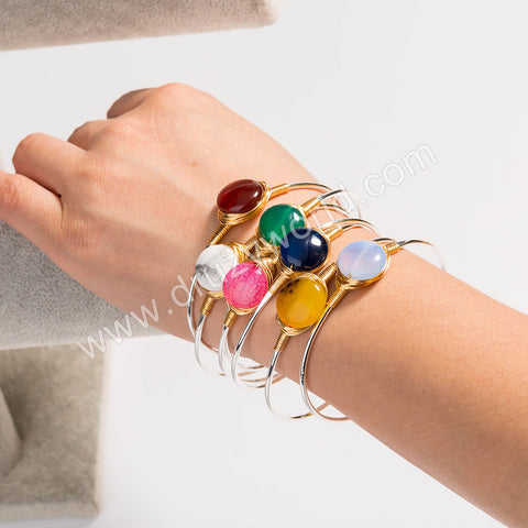 Silver Plated Wire Wrap Natural Stone Bangle WX1693