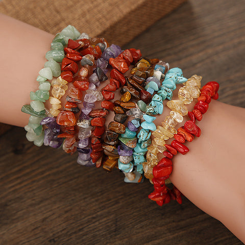 Natural Stone Chips Beaded Bracelet