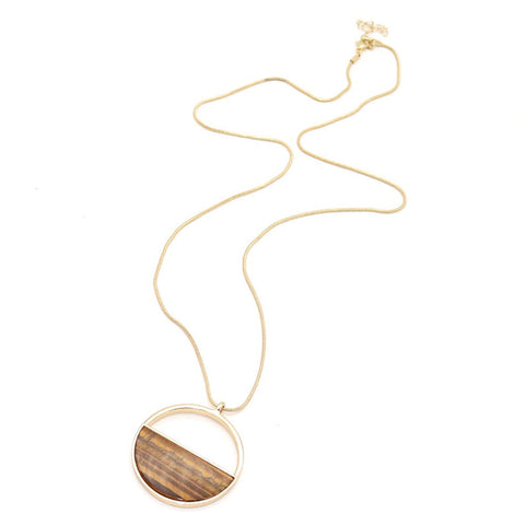 Natural Tiger Eye Gold Chain Necklace