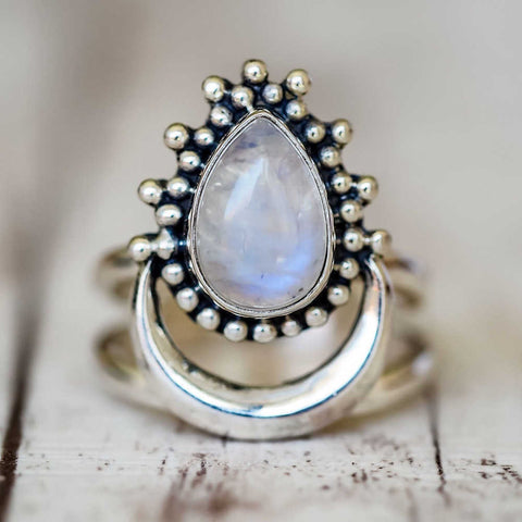 Crescent Moonstone Tai Silver Ring AL294