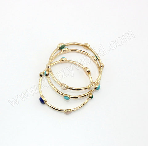 Gold Plated Natural Stone Bezel Bracelet WX1712