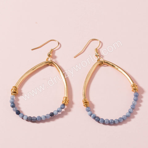 Gold Plated Drop Blue Beads Dangle Earrings WX1661