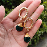 Gold Plated Wire Wrap Natural Stone Stud Earrings WX1690