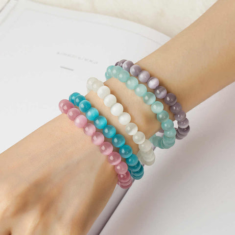 Cats-Eys Stone 8mm Bead Yoga Bracelet AL275