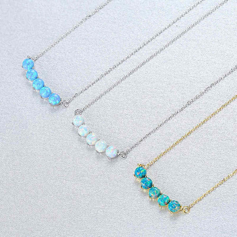S925 Sterling Silver Opal Necklace AL102