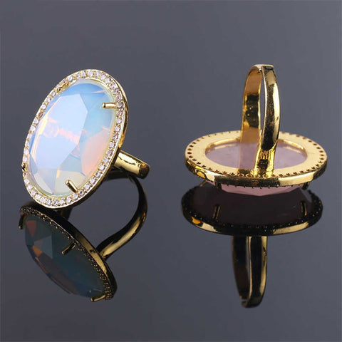 Large Natural Stone Rose Quartz Labradorite Pave Diamond Adjustable Ring AL196
