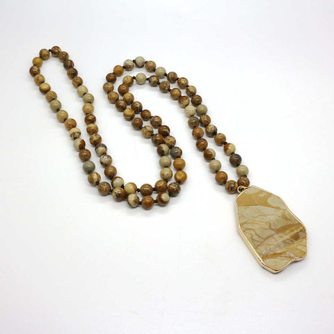 Gemstone Mala Beaded Long Necklace