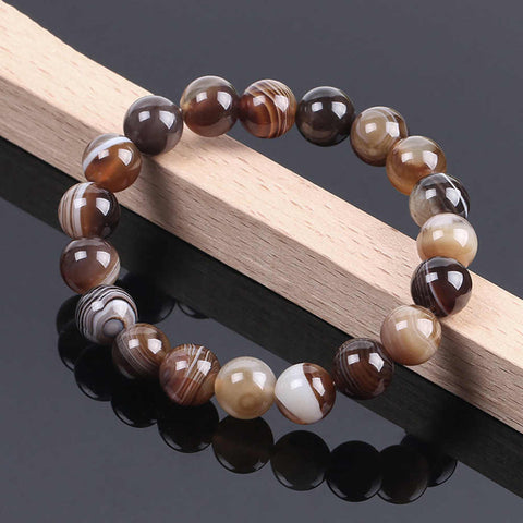 Natural Agate 10mm Beaded Bracelet