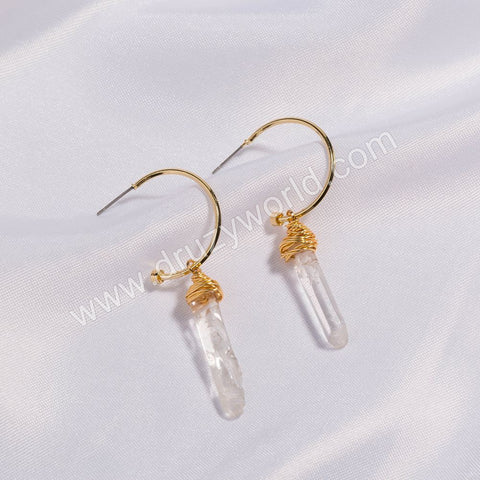 Gold Plated Wire Wrap White Quartz Stud Earrings WX1668