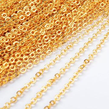 30 Inch 14K Gold Plated Copper Finished Chain Necklace Finding Golden Flat Cable Chain Losbter Clasp PJ006-30-G1