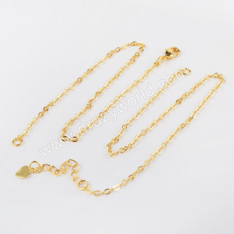 16 Inch Gold Plated Copper Finished Chain Connector Necklace Finding Golden Flat Cable Chain Losbter Clasp PJ007-8x2