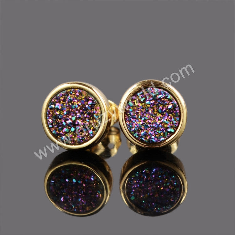 gold stud earrings quartz free tone nickel lead and black druzy
