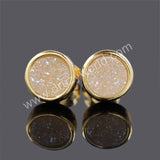 8mm Round Natural Agate Titanium  Druzy Stud Earrings Golden Edge Titanium Druzy Geode Studs Gemstone Drusy Druzy Jewelry G0198