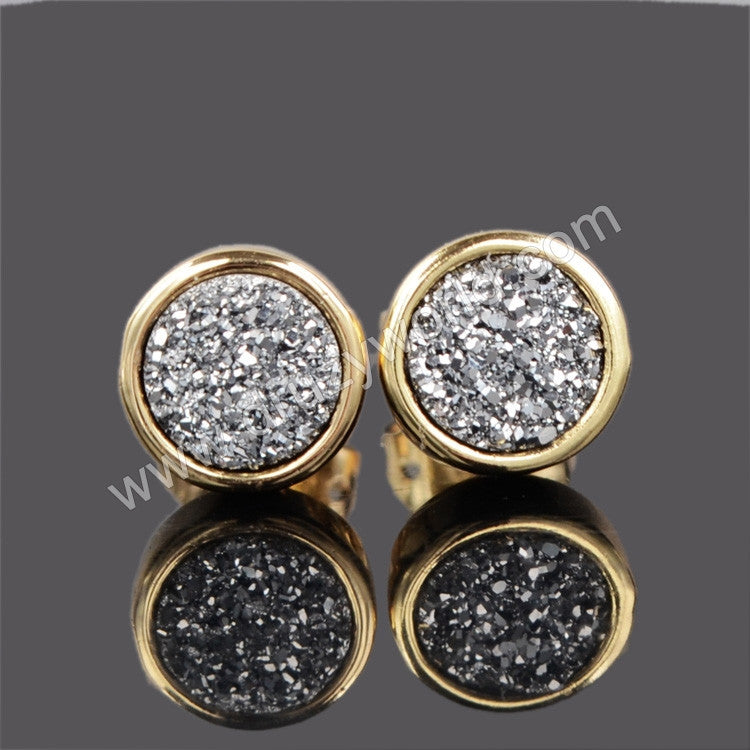 deals earrings silver stud druzy rainbow family blue gold titanium products