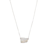 Claw Natural Titanium Druzy Faceted Necklace For Women Silver ZS0316-N