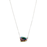 Egg Shape Silver Plated Claw Rainbow Titanium Druzy Faceted Connector ZS0316-N