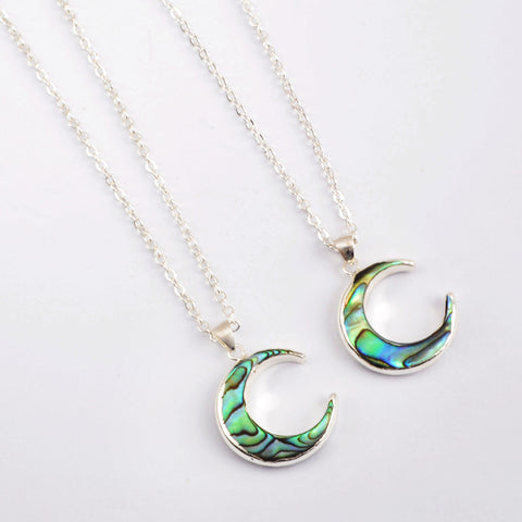 Crescent Silver Plated Abalone Shell Pendant Necklace S1768