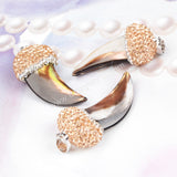 Elephant's Tusk Shape Brown Natural Shell With Champagne Zircon Pendant Bead JAB039-2