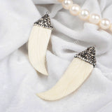 Natural Ox Bone Carved Feather With Zircon Pendant Bead JAB124