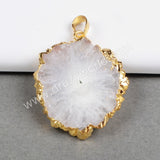 Opal white solar quartz pendant with 24k gold filled on edge