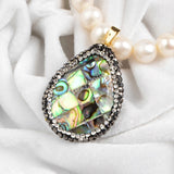 Drop Abalone Shell Pendant Bead With Zircon JAB103 JAB127
