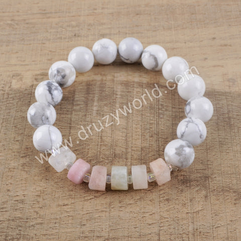 Howlite Turquoise Natural Multi-kind Stones Beads Bracelet HD0143