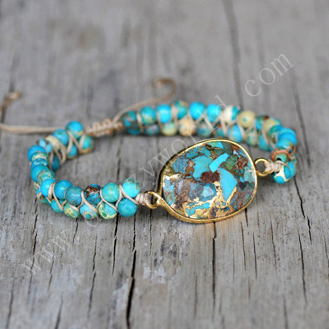 Gold Plated Copper Turquoise Rope Bracelet HD0291