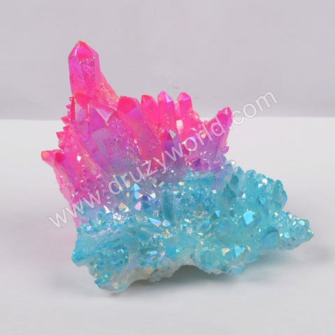 5pieces/lot,Hot pink+blue Crystal Cluster