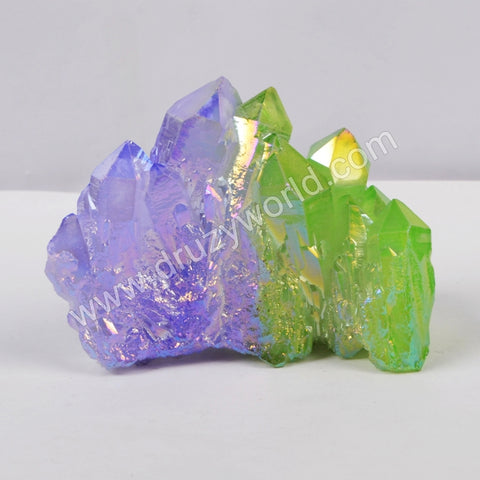 5pieces/lot,Green+purple Crystal Cluster