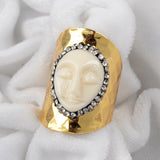 Gold Plated White Resin Carved Face Ring G0440 With Zircon JAB130