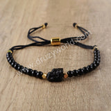 Black Tourmaline Adjustable Beads Bracelet For Women And Girls HD0126