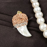 Natural White Shell Carved Horn Paved Champagne Zircon Pendant Bead JAB131-2