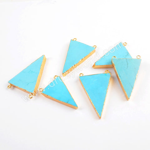 Gold Plated Turquoise Triangle Connector Double Bails G0410