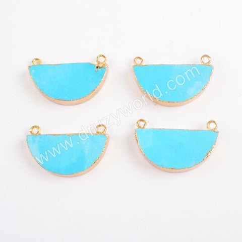 Gold Plated Turquoise Half Moon Connector Double Bails G0382