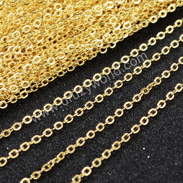 26 Inch 14K Gold Plated Copper Finished Chain Necklace Finding Golden Flat Cable Chain Losbter Clasp PJ005-26-G