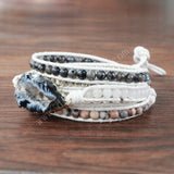 Boho Silver Plated Natural Onyx Druzy Agate Geode Slice Beads Bracelet Vintage Leather Wrap Bracelet HD0088