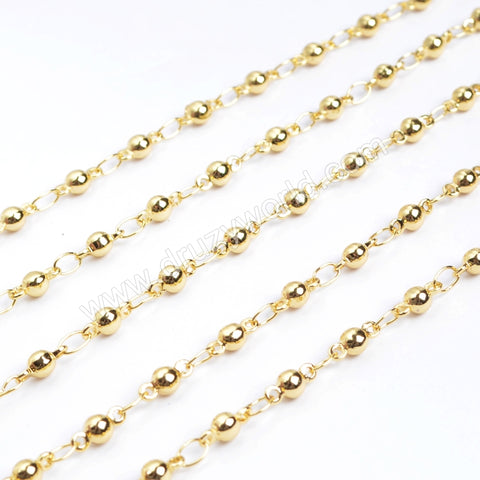 "30"" Gold Plated Copper 3mm Beads Finished Chain Connector Necklace Finding PJ011-15x2-G"