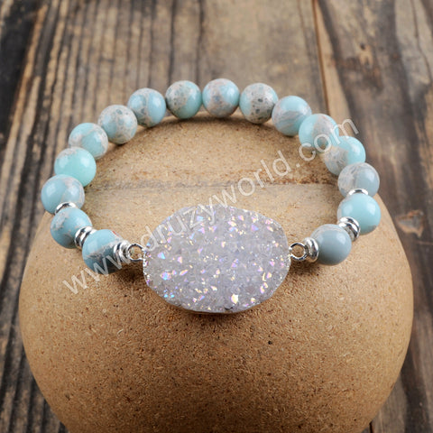 Silver Plated Natural White Druzy Bead Bracelet HD0260