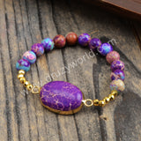 Purple Sediment Jasper Bead Gold Bracelet HD0262