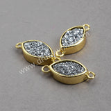 Gold Plated Marquise  Colorful Natural Agate Titanium Druzy Connector ZG020