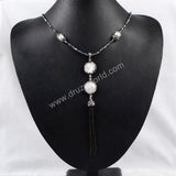Two Round Natural Pearl Beads Tassel Necklace With  Four Cylinder Natural Pearl Faceted Beads Paved Zircon Black Gun Beads Chain JAB167