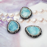 Drop Natural Aquamarine Beads With Zircon (Side Hole) JAB022
