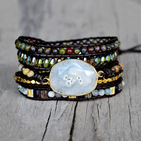 Genuine White Solar Quartz Black Leather Wrap Bracelet HD0265