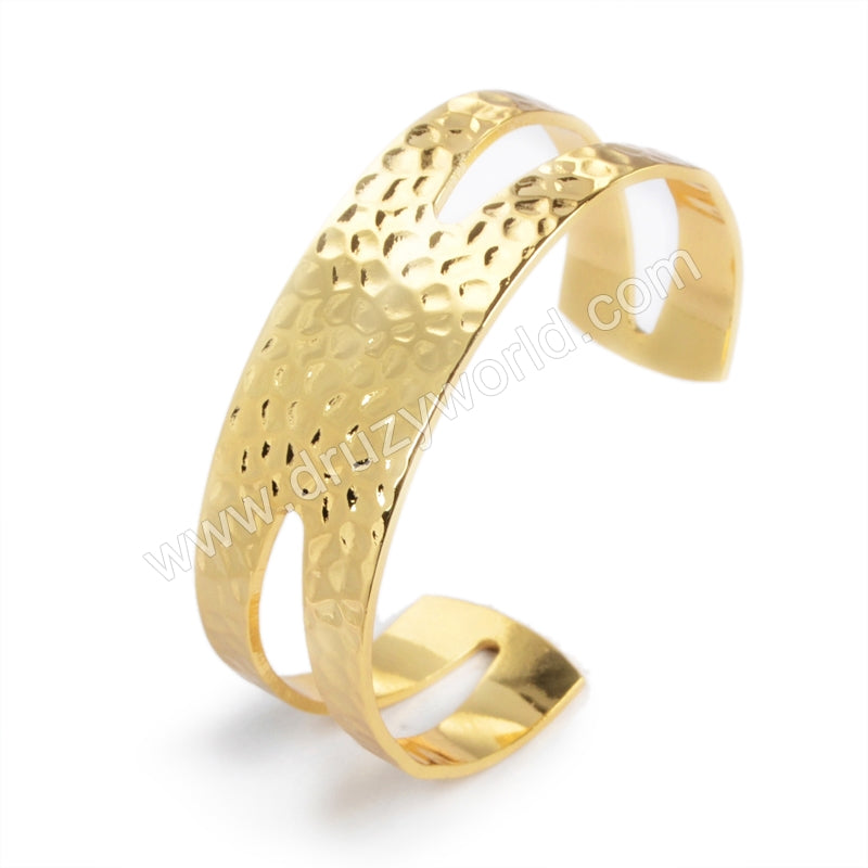 Gold Plated Hollow Brass Blank Bangle Settings PJ027-G