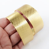 Gold Plated Brass Blank Bangle Settings With Decorative Pattern Flat Cuff Bracelet Bangle Making PJ028-G