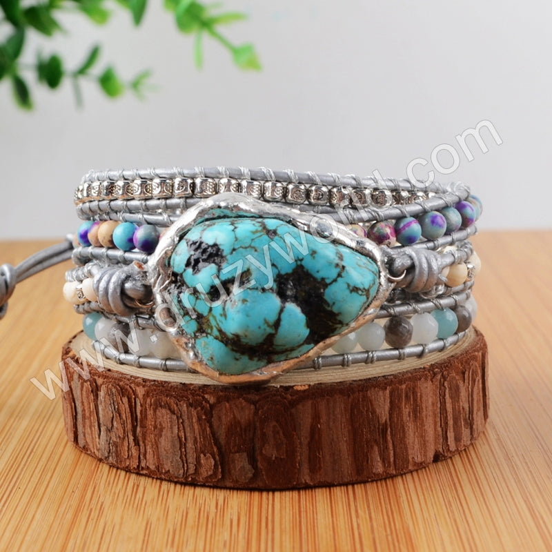 Boho Natural Turquoise Beads Leather Wrap Bracelet Handmade HD0120