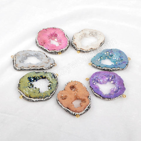 Rainbow Crystal Druzy Quartz Slice Connector Paved Zircons JAB234